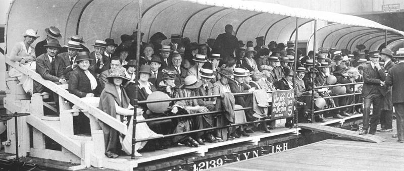 1910s new york area race - crowd watch from converted railway car