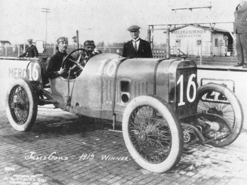 1913 indy 500 - jules goux (peugeot 4-cyl 7,4-litre linered down from 7,6-litre)​ 1st 1