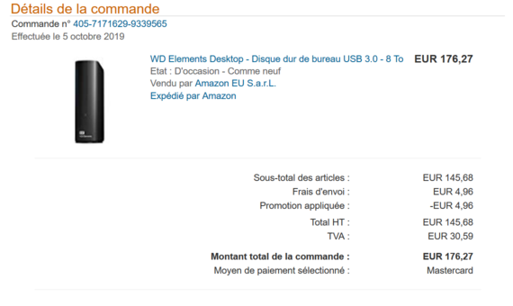 Commande HDD Externe 8 To