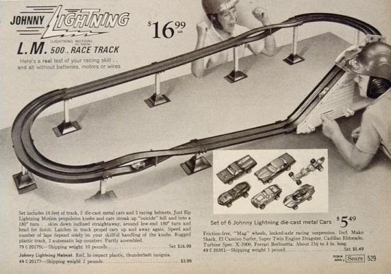 1969 Toy Ad Johnny Lightning L. M. 500 Race Car Track