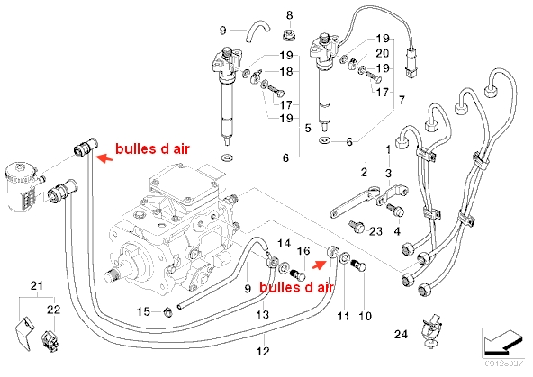 bmw e46 320d demarrage impossible  prise d u0026 39 air