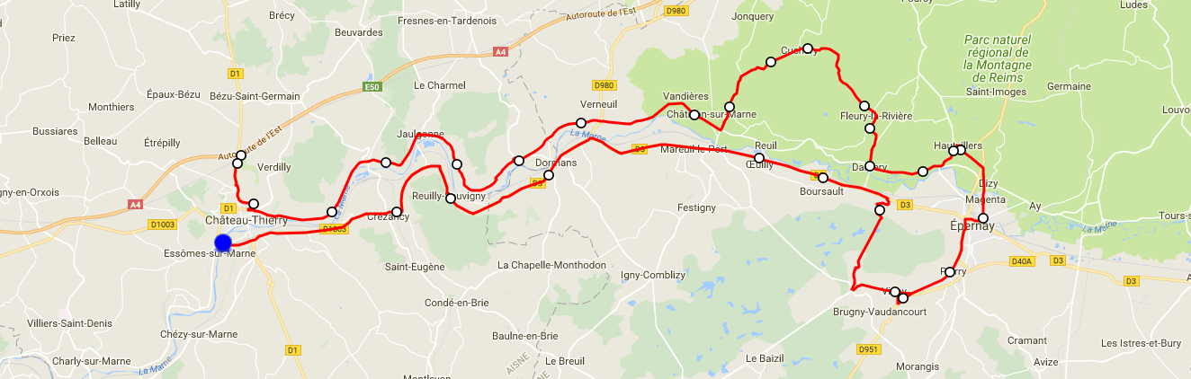Chateau thierry Epernay AR 128km