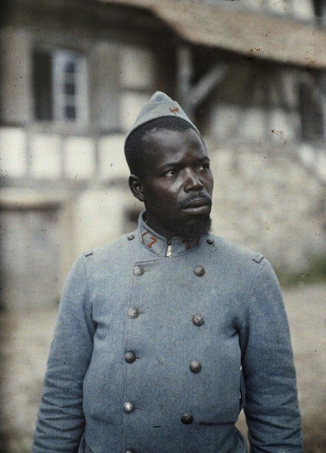 French colonial soldier in Ballersdorf, 1917.