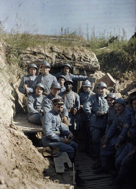 French soldiers posing in a trench near Hirtzbach, 1916.