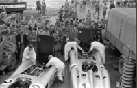 The Mercedes-Benz W196 streamliners in the paddock at Silverstone prior to the British Grand Prix on