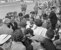 Silverstone - Daily Express 55 - Peter Collins and Roy Salvadori with admirers