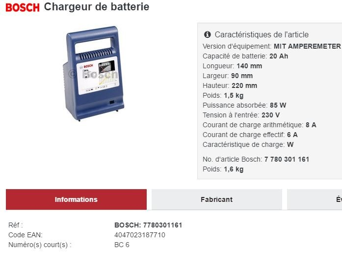 Chargeur Bosch BC6 - 6 A