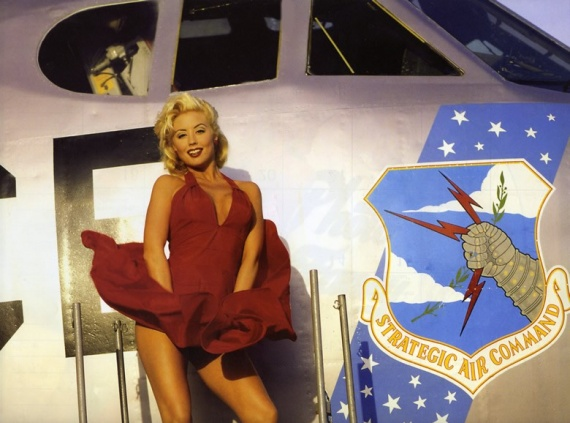 female model with a usaf jet