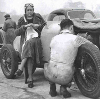 1936 Mrs- Marjorie Eccles waits her turn to drive at Brooklands in her Rapier