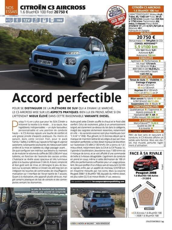 Test C3 Aircross HDi 100 - L'automobile magazine n°860