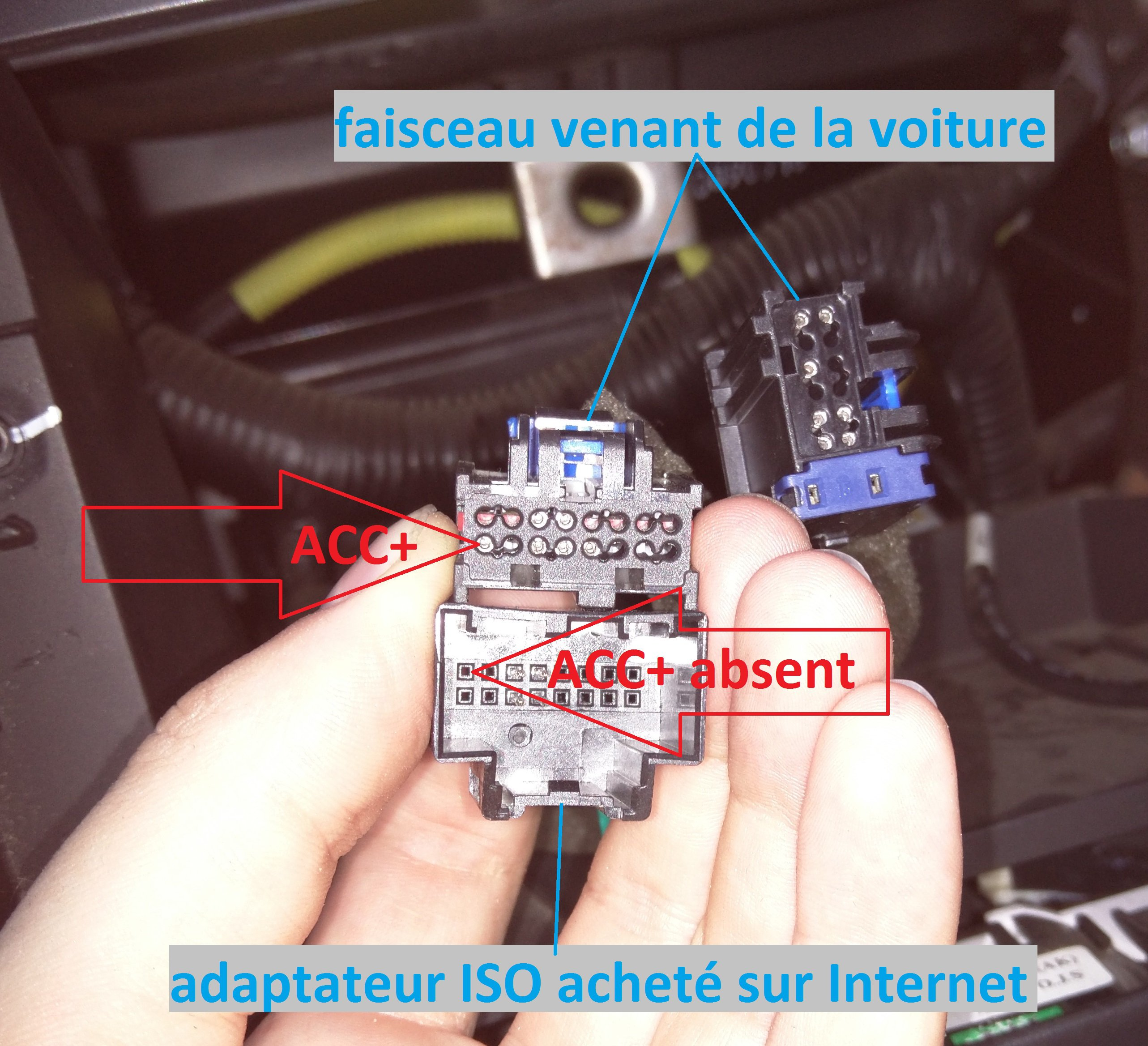 ACC+ absent adaptateur ISO