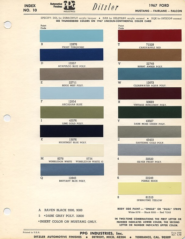 1967mustangcolorcodes