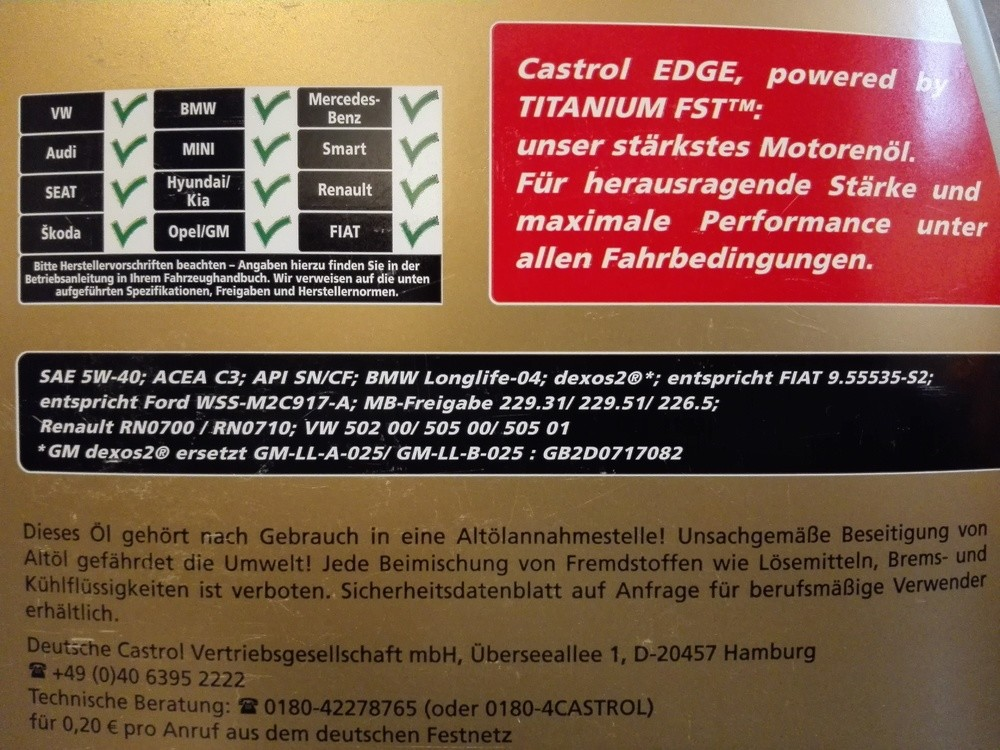 Castrol Edge Turbo Diesel 5W40 technical data