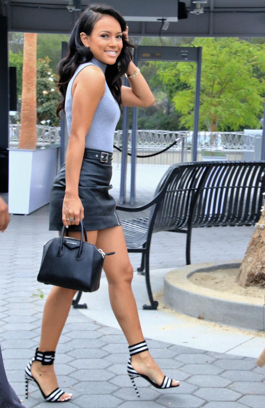 Karrueche-Tran-steps-out-in-a-skimpy-leather-