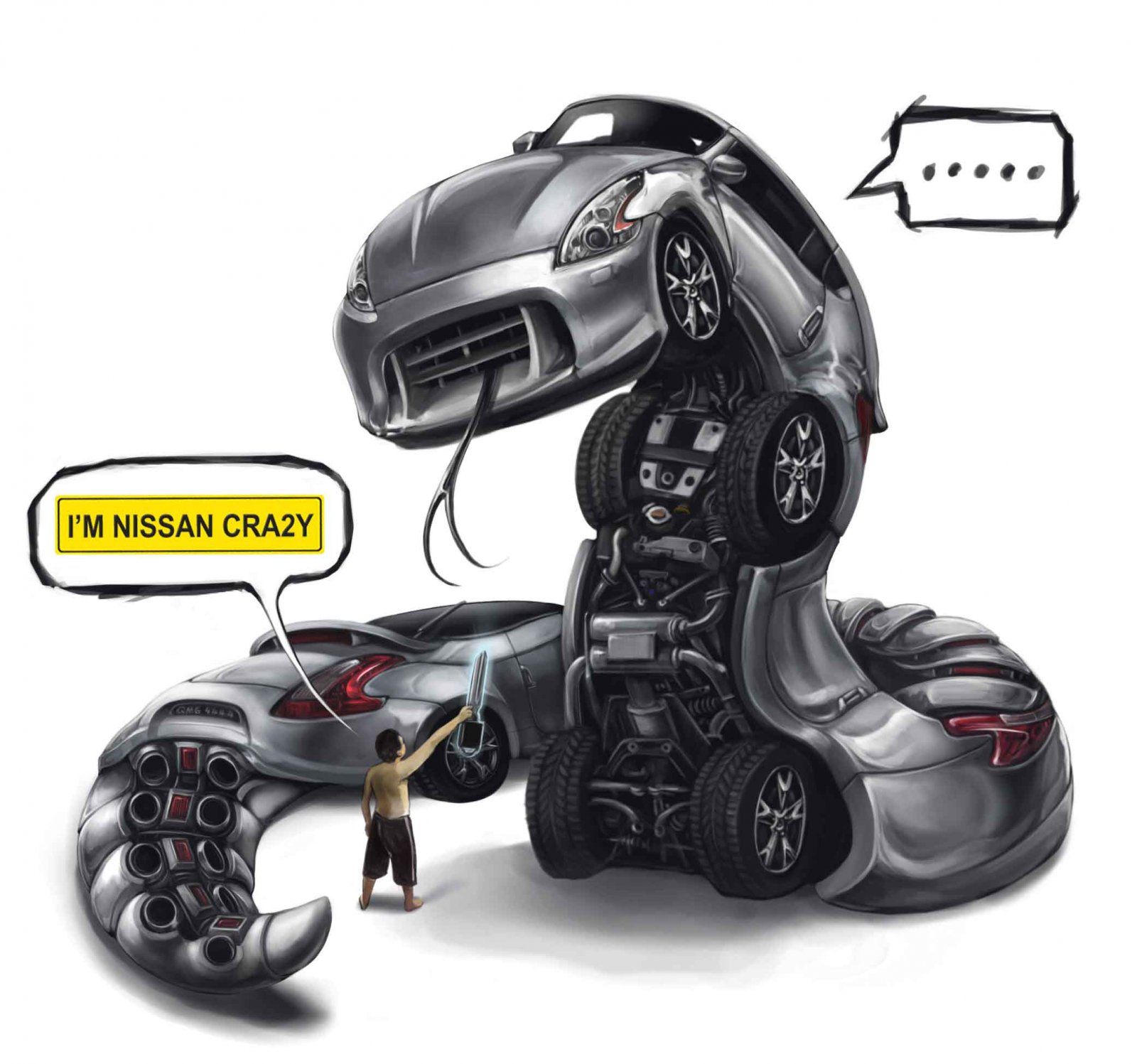 1600x1497_8341_Nissan_Car_toon_crazy_2d_fantasy_car_snake_picture_image_digital_art