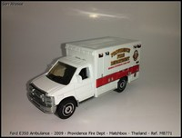 Ford E350 Ambulance - 2009 - Providence Fire Dept - Matchbox - Thailand - Ref- MB771
