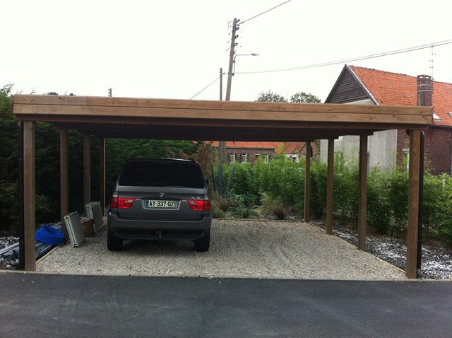 carport fait maison fabulous voor carport hout modern with carport fait maison abri de jardin. Black Bedroom Furniture Sets. Home Design Ideas